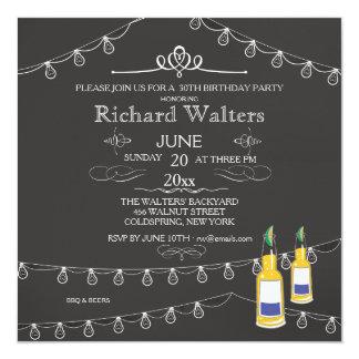 Strung Lights And Beer Birthday Invitation