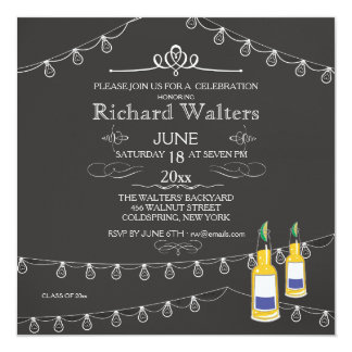 Strung Lights And Beer Graduation Party Invitation