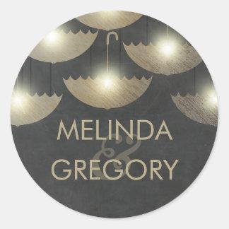 Strung Lights Umbrella Chalkboard and Gold Wedding Classic Round Sticker