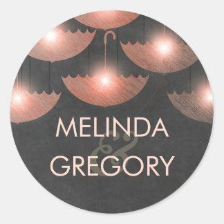 Strung Lights Umbrella Chalkboard and Pink Wedding Classic Round Sticker