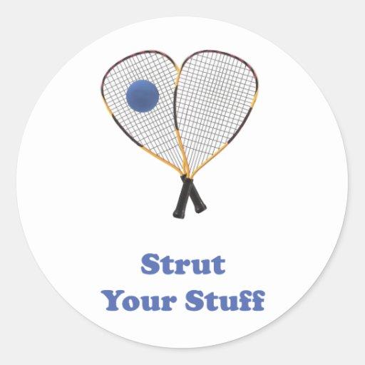 Strut Stuff Racquetball Round Stickers