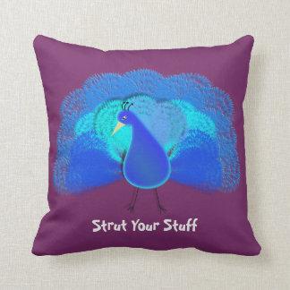 Strut Your Stuff Fun Bird Teal Purple Mix Throw Pillow