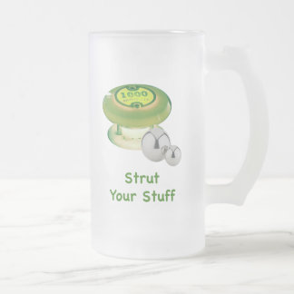 Strut Your Stuff Pinball Frosted Glass Beer Mug