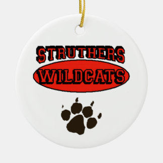 Struthers Wildcats Double-Sided Ceramic Round Christmas Ornament