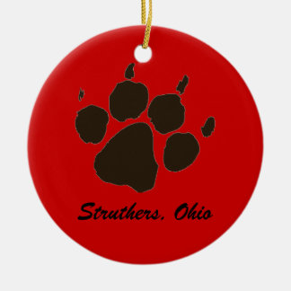 Struthers Wildcats Paws Double-Sided Ceramic Round Christmas Ornament