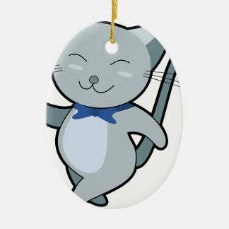 Strutting Cat Ceramic Ornament