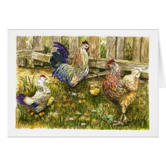 Strutting chicken family greeting card