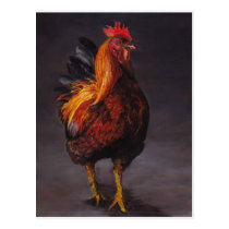 Strutting Rooster Bird Art Postcard