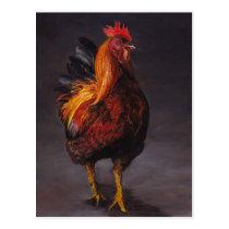Strutting Rooster Bird Art Postcard
