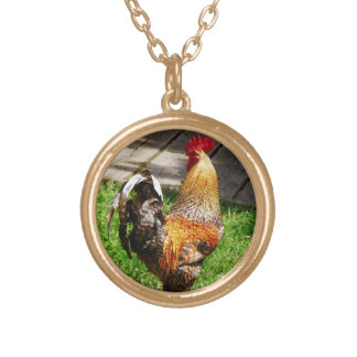 Strutting Rooster Round Pendant Necklace