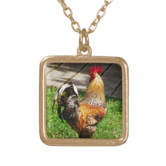 Strutting Rooster Square Pendant Necklace