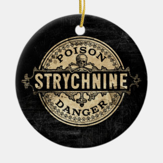 Strychnine Vintage Style Poison Label Double-Sided Ceramic Round Christmas Ornament