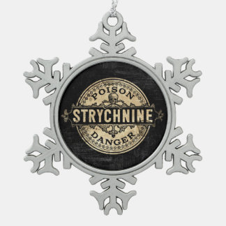 Strychnine Vintage Style Poison Label Snowflake Pewter Christmas Ornament