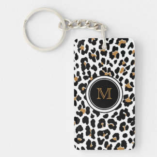Strylish Monogram Leopard Print Acrylic Keychain