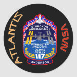 STS 117 la Atlántida Pegatina Redonda