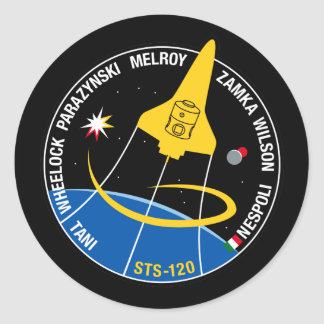STS 120 Mission Patch Classic Round Sticker