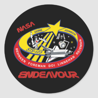 STS 123 Endeavour Classic Round Sticker