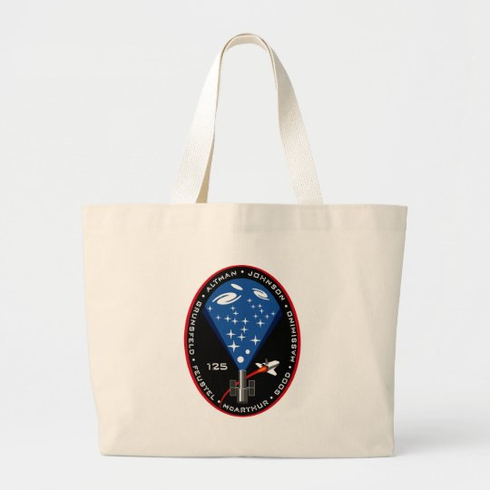 STS 125 Mission Patch Large Tote Bag