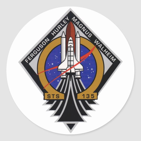 STS 135 Last Flight of Atlantis Classic Round Sticker