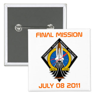 STS-135 Patch, Final Mission, July 08 2011 Button