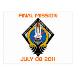 STS-135 Patch, Final Mission, July 08 2011 Post Card