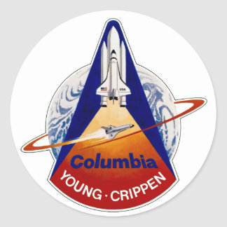 STS 1 Columbia: Young and Crippen Classic Round Sticker