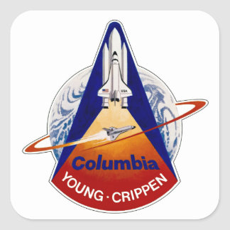 STS 1 Columbia: Young and Crippen Square Sticker