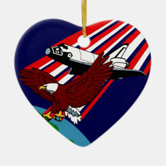 STS -28 Columbia: OV-102 Double-Sided Heart Ceramic Christmas Ornament