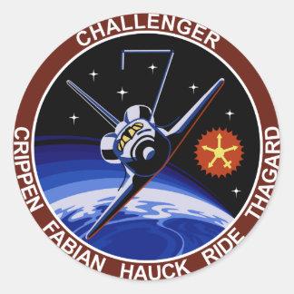 STS-7: Challenger OV-99 & Sally Ride Round Sticker