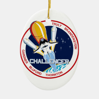 STS-8: Challenger:  1st Night Landing Double-Sided Oval Ceramic Christmas Ornament