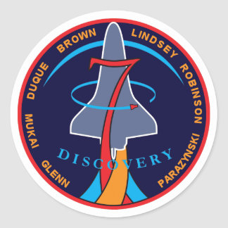 STS-95 Space Shuttle Discovery Mission Patch Logo Classic Round Sticker