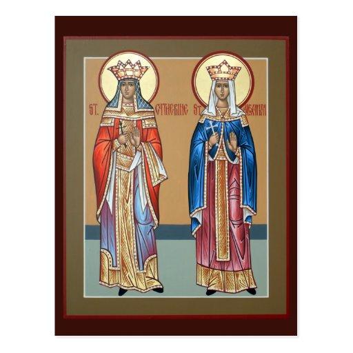 Sts. Tarjetas del rezo de Catherine y de Alexandra Tarjeta Postal