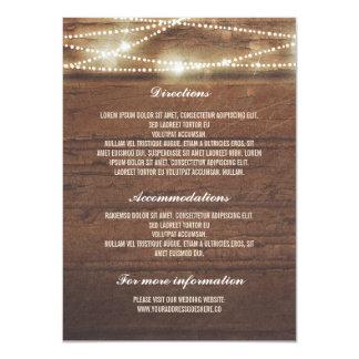 """Sttring enciende los detalles de madera del boda invitación 4.5"""" x 6.25"""""""