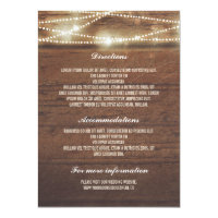 Sttring Lights Rusti Wood Wedding Details Card