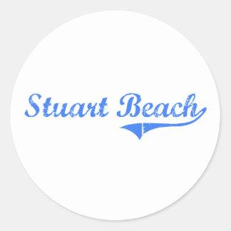 Stuart Beach Florida Classic Design Round Stickers