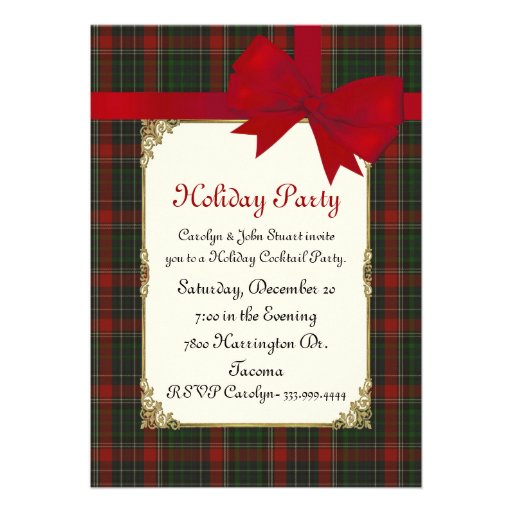 Stuart Clan Tartan Plaid Custom Christmas Party Custom Invitation