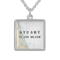 Stuart FL Home town Latitude Longitude Nautical Sterling Silver Necklace