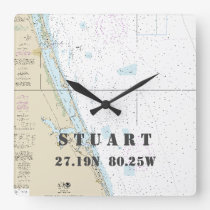 Stuart FL Latitude Longitude Nautical Chart Square Wall Clock
