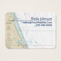 Stuart FL Nautical Chart Clean Fresh Blue Tan Business Card