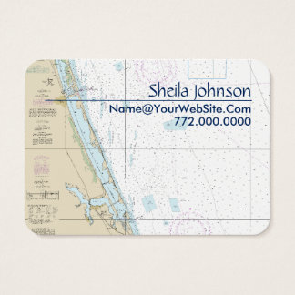 Stuart FL Nautical Chart Clean Fresh Blue Tan Business Card