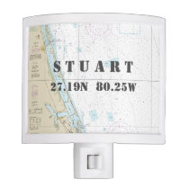 "Stuart, FL Nautical Chart ""Home Town"" Coordinates Night Light"