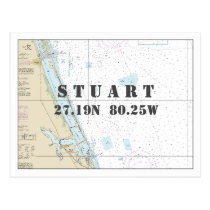 Stuart FL Nautical Chart Latitude Longitude Postcard