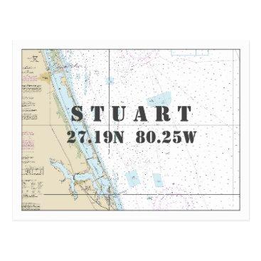 Beach Themed Stuart FL Nautical Chart Latitude Longitude Postcard