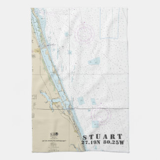Stuart Florida Nautical Chart Latitude Longitude Hand Towel