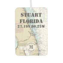 Stuart Martin Florida Nautical Chart Monogram Car Air Freshener