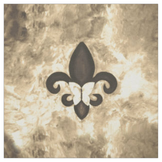 Stubborn Craft | Sepia Brown Butterfly Fleur d Lis Fabric