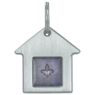 Stubborn Decor Purple Butterfly Fleur de Lis Pet Tag