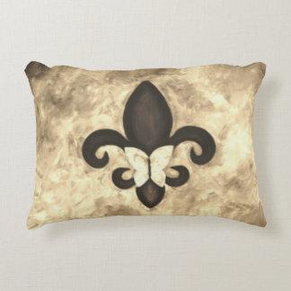 Stubborn Decor | Sepia Brown Butterfly Fleur d Lis Decorative Pillow