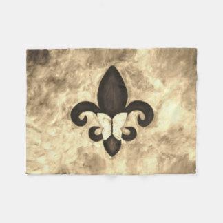 Stubborn Decor | Sepia Brown Butterfly Fleur d Lis Fleece Blanket