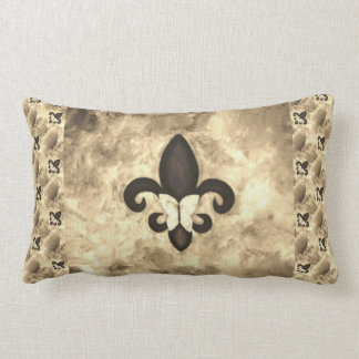 Stubborn Decor | Sepia Brown Butterfly Fleur d Lis Lumbar Pillow